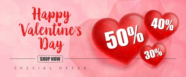 Valentijnsdag belettering met rode harten