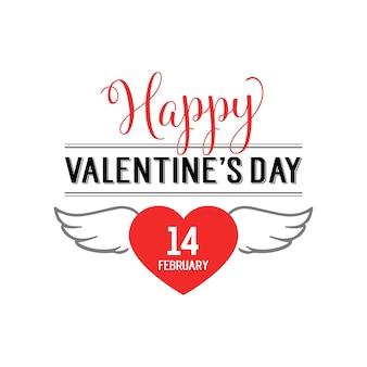 Valentijnsdag belettering met vliegende hart