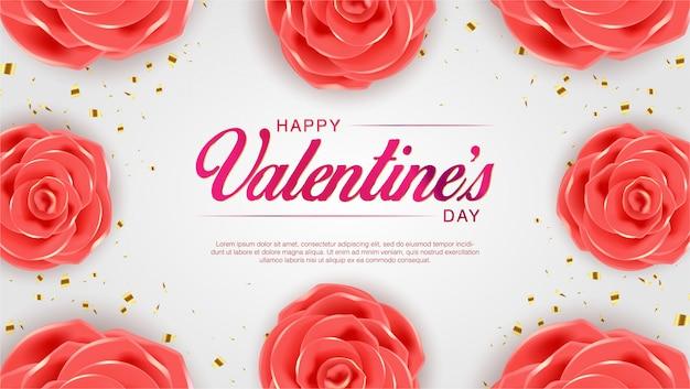 Valentijnsdag bloemen wenskaart. achtergrond illustratie met realistische flower design op roze achtergrond. lente feest sjabloon.