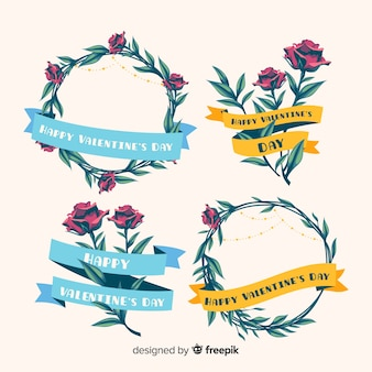 Valentijnsdag bloemenkransen en boeketten