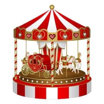 Valentijnsdag carrousel met hartvormige koets en paarden