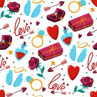 Valentijnsdag cartoon naadloze patroon op een witte achtergrond.