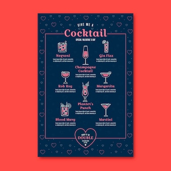 Valentijnsdag cocktails restaurant menu