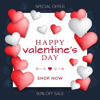 Valentijnsdag concept glanzende rode en witte harten met vierkante frame schattig liefde