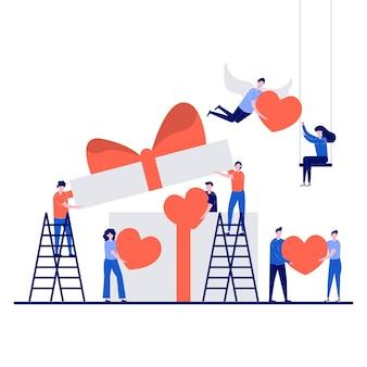 Valentijnsdag concept met een klein karakter.