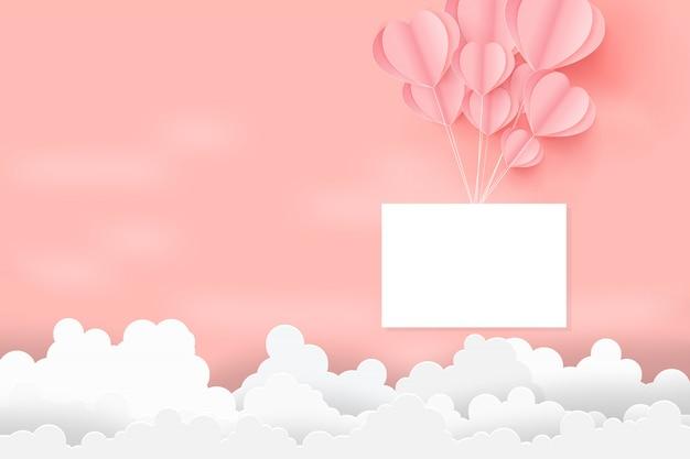 Valentijnsdag concept met harten ballonnen zweven in de lucht.