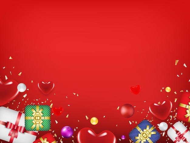Valentijnsdag concept met hartjes met kopie ruimte.