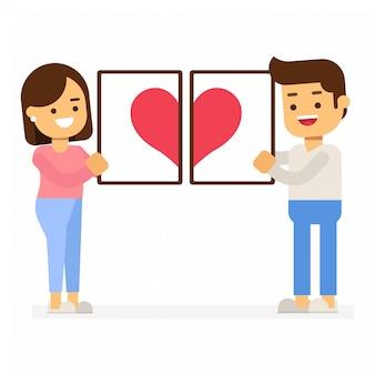 Valentijnsdag concept. paar dat rood hart in omlijstingen houdt