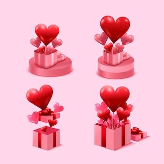Valentijnsdag concept. roze geschenkdoos open op standaard. vol harten en decoratief feestobject