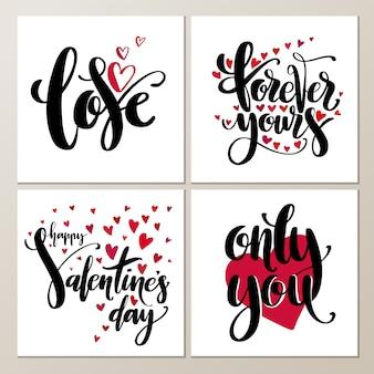Valentijnsdag creatieve artistieke hand getrokken kaarten set.
