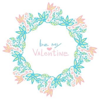 Valentijnsdag decoratie. leuk bloemenframe in vector. creatieve bloemenachtergrond in pastelkleur