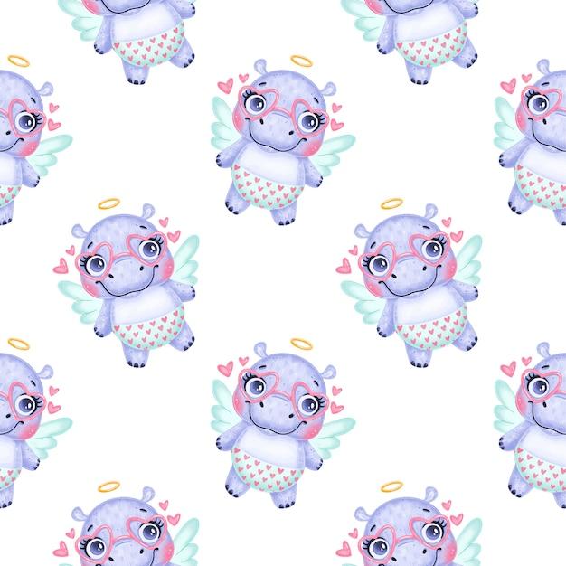 Valentijnsdag dieren naadloze patroon. schattige cartoon hippo cupido naadloze patroon.