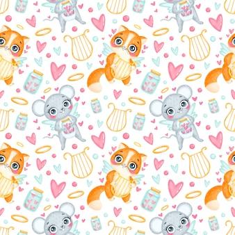 Valentijnsdag dieren naadloze patroon. schattige cartoon kat en muis cupido naadloze patroon.