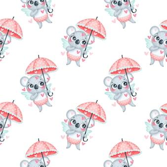 Valentijnsdag dieren naadloze patroon. schattige cartoon koala cupido naadloze patroon.