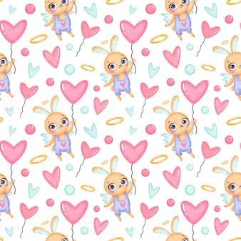 Valentijnsdag dieren naadloze patroon. schattige cartoon konijntje cupido naadloze patroon.