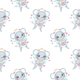 Valentijnsdag dieren naadloze patroon. schattige cartoon muis cupido naadloze patroon.