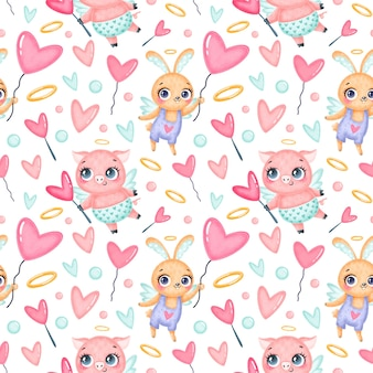 Valentijnsdag dieren naadloze patroon. schattige cartoon varken en konijntje cupido naadloze patroon.