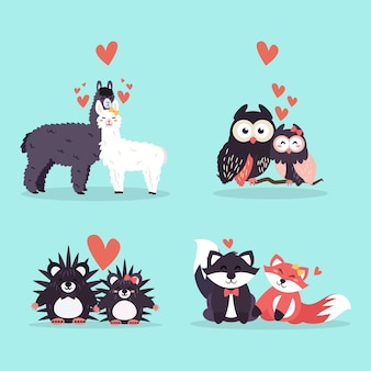 Valentijnsdag dieren paar collectie