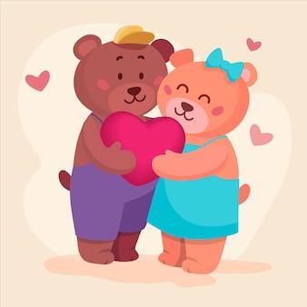Valentijnsdag dierlijk paar getrokken