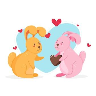 Valentijnsdag dierlijk paar met konijntjes