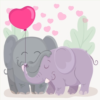Valentijnsdag dierlijk paar tekenen