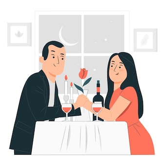 Valentijnsdag diner concept illustratie
