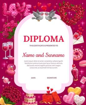 Valentijnsdag diploma, certificaat met cartoon valentine feestelijke attributen harten