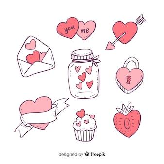 Valentijnsdag doodle elementen collectie