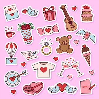 Valentijnsdag doodle illustratie sticker set