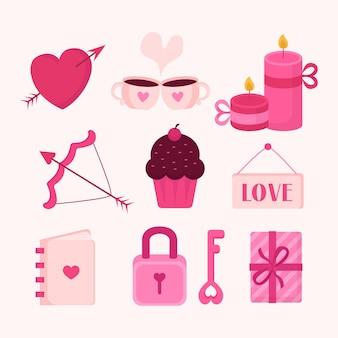 Valentijnsdag element collectie in plat design