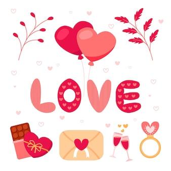 Valentijnsdag element collectie in plat ontwerp