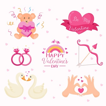 Valentijnsdag element collectie met hartjes