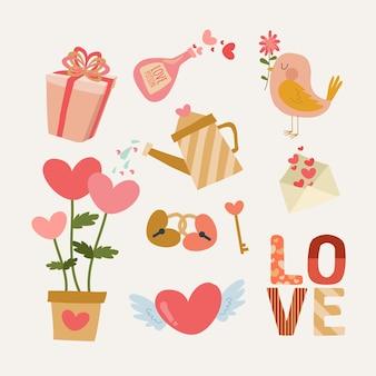 Valentijnsdag element pack platte ontwerpstijl