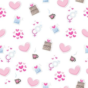 Valentijnsdag elementen abstracte achtergrond. set van schattige hand getrokken pictogrammen over liefde geïsoleerd op een witte achtergrond in delicate tinten van kleuren. patroon fijne valentijnsdag Premium Vector