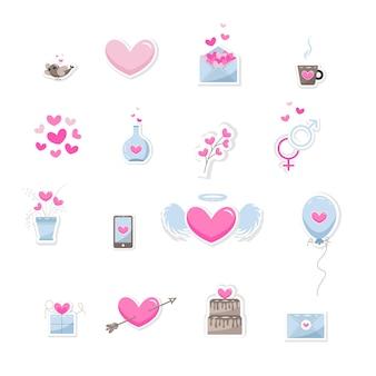 Valentijnsdag elementen. set van schattige hand getrokken pictogrammen over liefde geïsoleerd op een witte achtergrond in delicate tinten van kleuren. gelukkige valentijnsdag achtergrond. vector illustratie