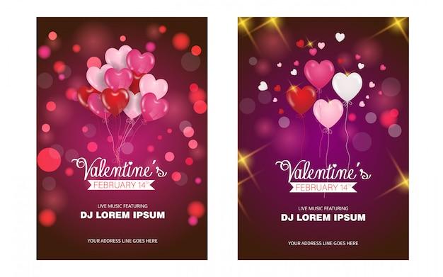Valentijnsdag en liefde posters sjabloon