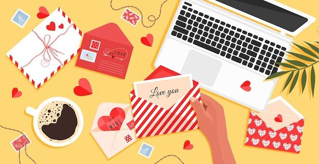 Valentijnsdag enveloppen en kaart op tafel met een ansichtkaart in de hand voor geliefden in een vlakke stijl