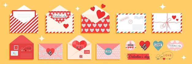 Valentijnsdag enveloppen en kaarten in rode en roze kleur vlakke stijl