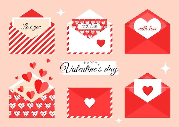 Valentijnsdag enveloppen met hartjes en tekst voor geliefden