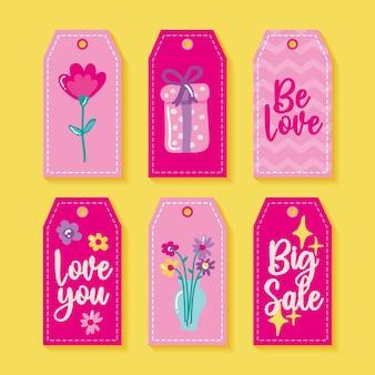 Valentijnsdag etiketten met liefdesthema.