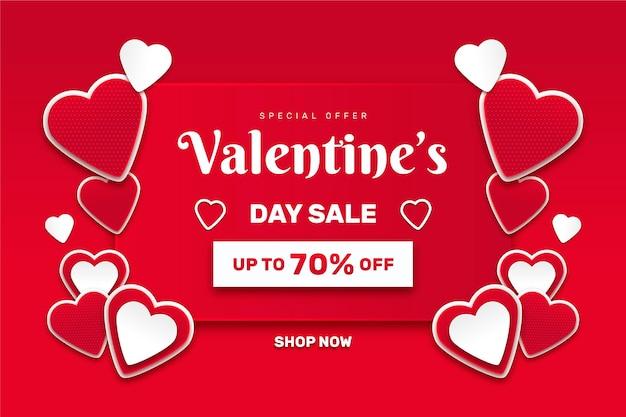 Valentijnsdag evenement verkoop in papieren stijl