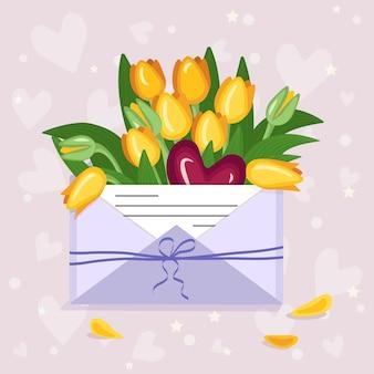 Valentijnsdag feestelijke decoratie tulpen in een ambachtelijke envelop met een liefdesbriefje en hartjes hangers een r...
