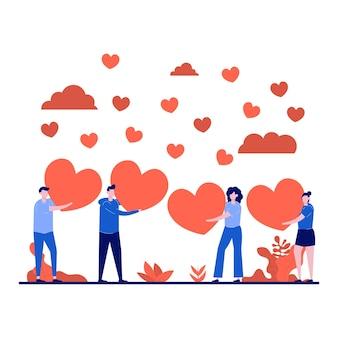 Valentijnsdag festival concept met een klein karakter.