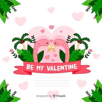 Valentijnsdag flamingo achtergrond