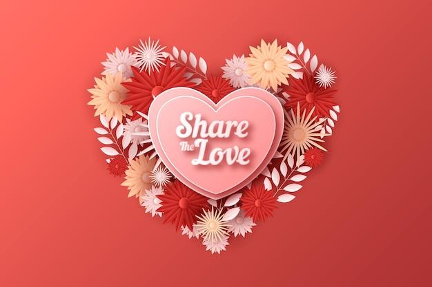 Valentijnsdag floral achtergrond in papieren stijl