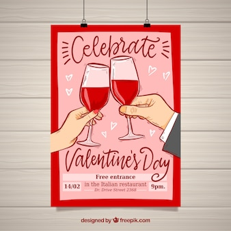 Valentijnsdag flyer en poster sjabloon