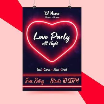 Valentijnsdag-flyer voor neonfeesten