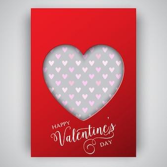 Valentijnsdag folder ontwerp met hart uitsparing