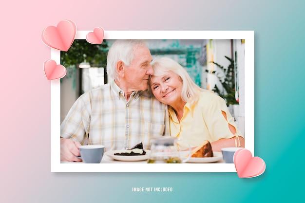 Valentijnsdag frame met papieren harten