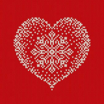 Valentijnsdag gebreide trui design met hart. naadloze patroon